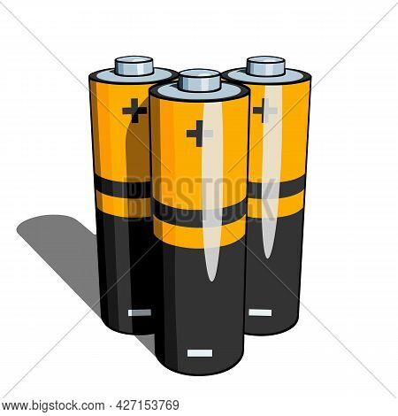 Several Aa Or Aaa Batteries With Shadow Close-up In Perspective On A White Background. Simple Vector