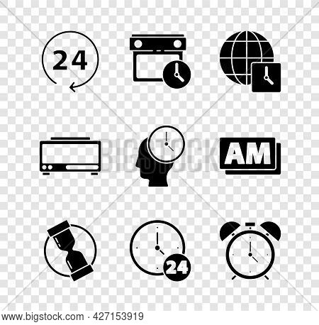 Set Clock 24 Hours, Calendar And Clock, World Time, Old Hourglass, Alarm, Digital Alarm And Time Man