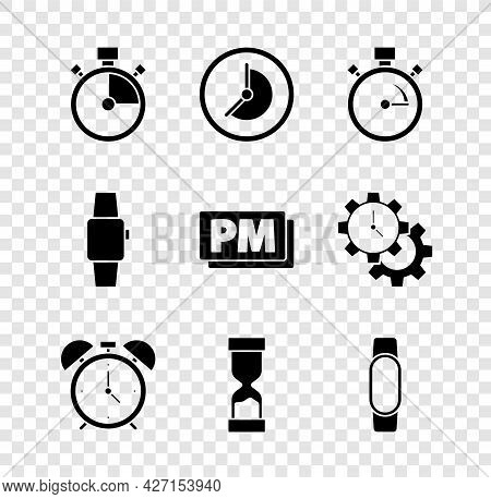Set Stopwatch, Clock, Alarm Clock, Old Hourglass, Smartwatch, And Pm Icon. Vector