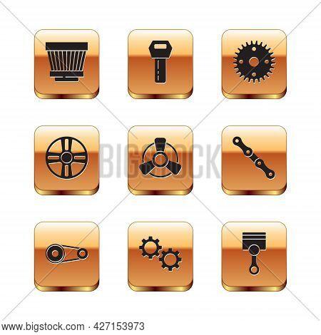 Set Car Air Filter, Timing Belt Kit, Gear, Motor Ventilator, Alloy Wheel, Engine Piston And Key With