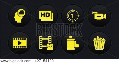 Set Play Video, Cinema Camera, Camera Film Roll Cartridge, Old Movie Countdown Frame, Hd Movie, Tape