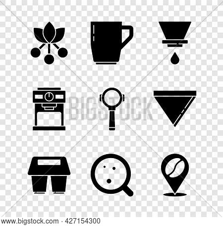 Set Coffee Bean, Branch, Cup, V60 Coffee Maker, To Go, Location With, Machine And Filter Holder Icon
