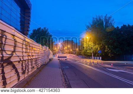 Zgorzelec, Poland - June 2, 2021: Night View Of Border Of Poland And Germany, Bridge Connecting Zgor