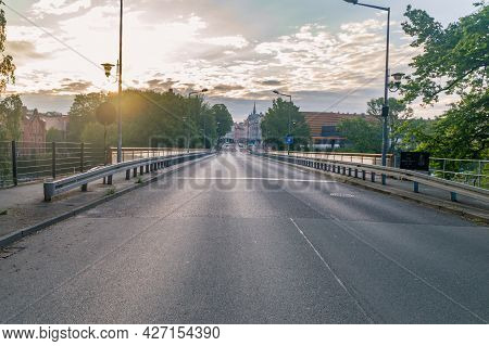 Zgorzelec, Poland - June 2, 2021: Sunrise On Border Bridge Beetwen Poland And Germany. Bridge Connec