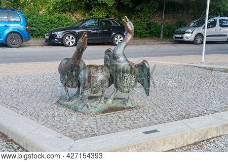 Gorlitz, Germany - June 2, 2021: Sculpture To The Goose On The Lusatian Neisse River Boulevard.