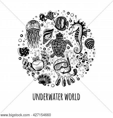 A Set Of Cartoon Sea Animals In A Circle. Ocean Underwater Inhabitants. Postcard, T-shirt, Mug Desig
