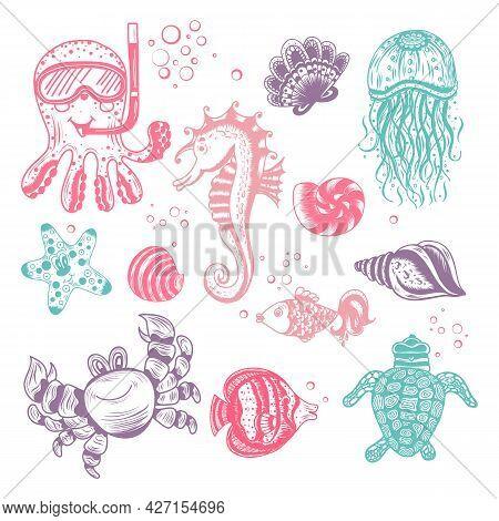 A Set Of Hand Drawn Marine Animals. Seahorse, Octopus, Shells, Fish, Starfish, Jellyfish, Sea Turtle