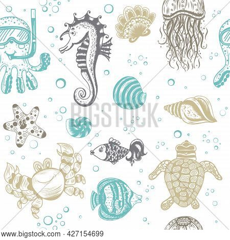 A Gentle Children's Vector Illustration With The Inhabitants Of The Underwater World On A White Back