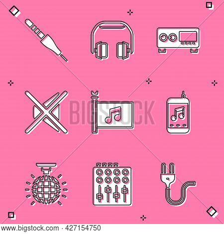 Set Audio Jack, Headphones, Guitar Amplifier, Speaker Mute, Music Festival Flag, Player, Disco Ball