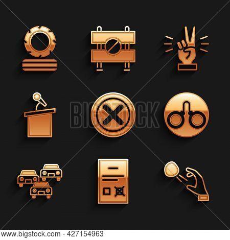 Set X Mark, Cross In Circle, Poll Document, Hooligan Shooting Stones, Handcuffs, Traffic Jam, Stage