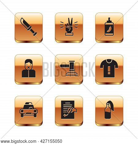 Set Military Knife, Police Car And Flasher, Petition, Judge Gavel, Censor Freedom Of Speech, Pepper