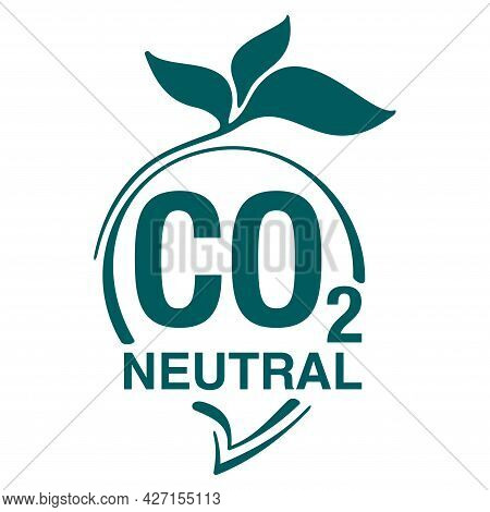 Co2 Neutral Green Floral Badge, Net Zero Carbon Dioxyde Footprint - Carbon Emissions Free No Air Atm