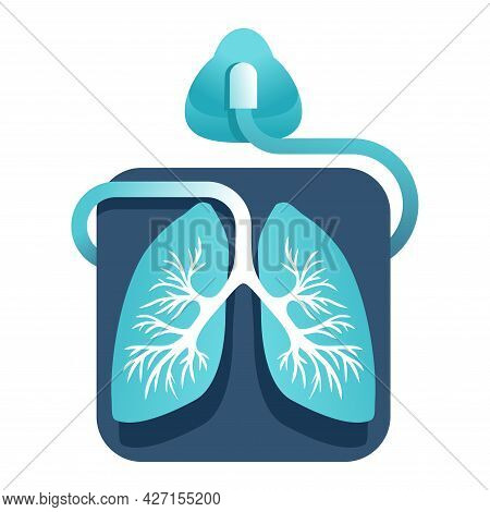 Ventilator Icon - Equipment For Mechanical Ventilation Of Lungs - Medical Equipment Emblem . Vector