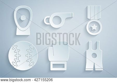Set Boxing Glove, Medal, Baseball Ball, Wrestling Singlet, Whistle And Training Paws Icon. Vector