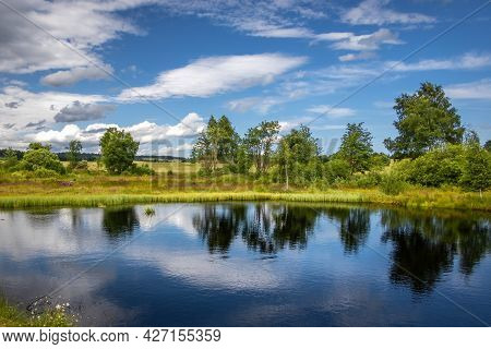 Pond And Peat-bog In Summer Landscape Under Blue Cloudy Sky - Ore Mountains, Czech Republic, Europe