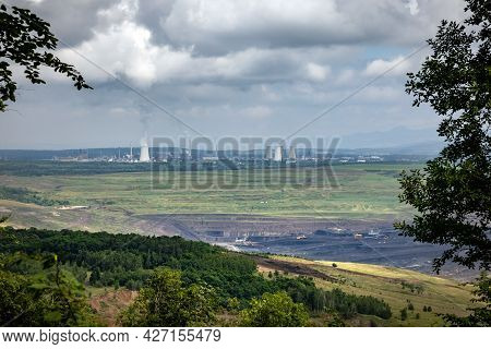 Brown Coal Surface Mine And Chemical Factory In Litvinov City With Columns Of Smoke - Czech Republic