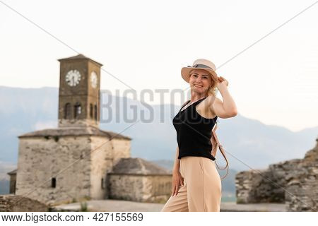 Gjirokaster, Albania. People Enjoying The Peaceful Atmosphere In Quarters Of Old City Unesco World H