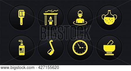 Set Cream Or Lotion Cosmetic Tube, Essential Oil Bottle, Sauna Ladle, Clock, Man In The Sauna, Aroma