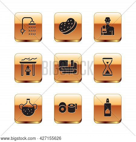 Set Shower, Essential Oil Bottle, Toilet Paper Roll, Towel Stack, Aroma Candle, Man In The Sauna, Sp