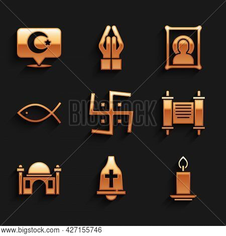 Set Hindu Swastika, Church Bell, Burning Candle, Decree, Paper, Parchment, Scroll, Muslim Mosque, Ch