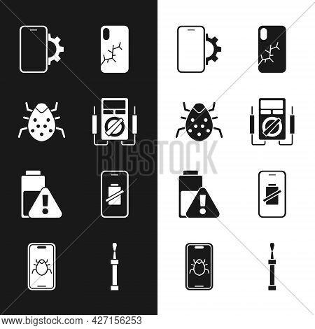 Set Multimeter, System Bug, Phone Repair Service, Mobile With Broken Screen, Smartphone Battery Char