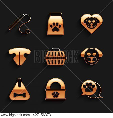 Set Pet Carry Case, Canned Food, Paw Print, Dog, Collar, Cat Nose, Heart With Dog And Cat Toy Icon.