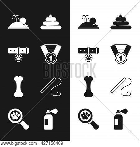 Set Dog Award Symbol, Collar With Name Tag, Clockwork Mouse, Shit, Bone, Pet Cat Toy, Shampoo And Ve