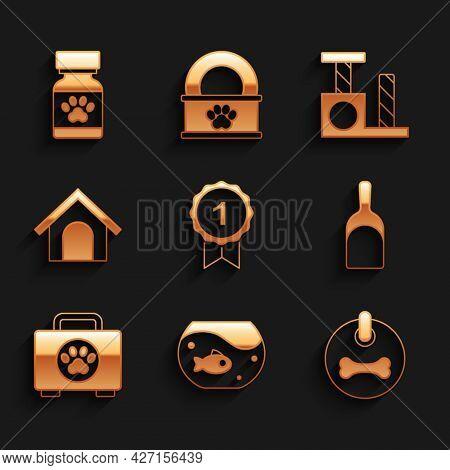 Set Dog Award Symbol, Aquarium With Fish, Collar, Dustpan, Pet First Aid Kit, House, Cat Scratching