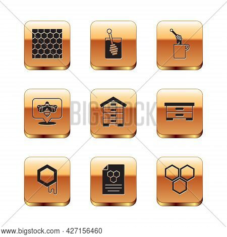 Set Honeycomb, Hive For Bees, Bee, Dipper Stick With Honey, And Icon. Vector