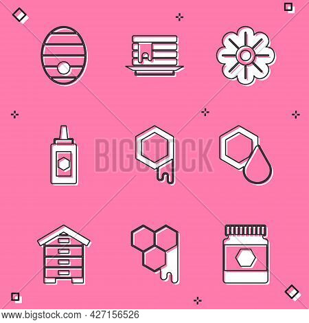 Set Hive For Bees, Stack Of Pancakes, Flower, Jar Honey, Honeycomb, And Icon. Vector
