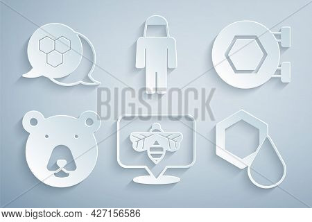 Set Bee, Hanging Sign With Honeycomb, Bear Head, Honeycomb, Beekeeper Protect Hat And Icon. Vector