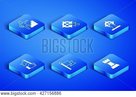 Set Chess, Stair With Finish Flag, Flag, Hand Holding, Target And Icon. Vector