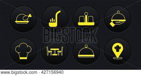 Set Chef Hat, Covered With Tray Of Food, Wooden Table Chair, Salt And Pepper, Kitchen Ladle, Locatio