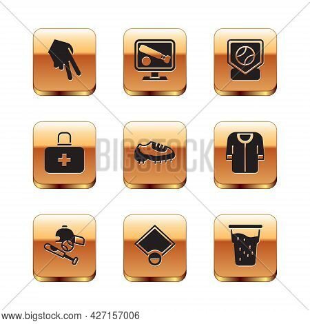 Set Baseball Glove, Bat With Ball, Hat, Field, Boot, First Aid Kit, Base, Glass Of Beer And Monitor