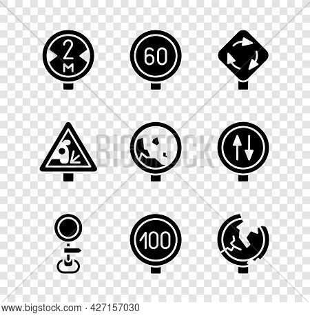 Set Road Traffic Sign, Speed Limit, Roundabout, Warning Road And Warning Rockfall Icon. Vector