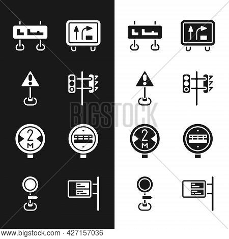 Set Traffic Light, Exclamation Mark In Triangle, Road Traffic Sign, Railroad Crossing, Ublic Transpo