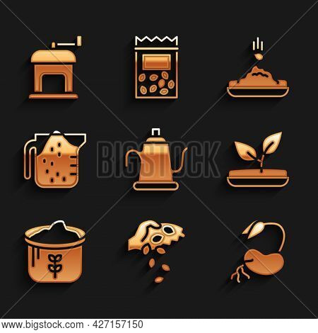 Set Watering Can, Seed, Sprout, Bag Of Flour, Measuring Cup, And Manual Coffee Grinder Icon. Vector