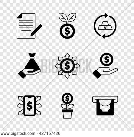 Set Document And Pen, Dollar Plant, Gold Bars, Smartphone With Dollar, Atm Money, Money In Hand And