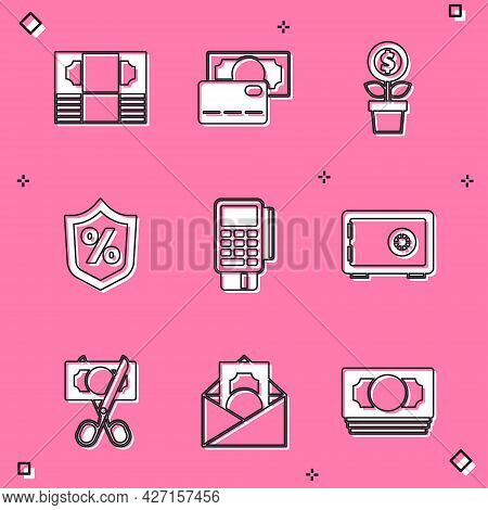 Set Stacks Paper Money Cash, Credit Card, Dollar Plant, Loan Percent, Pos Terminal With Credit, Safe