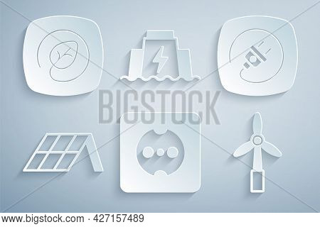 Set Electrical Outlet, Plug, Solar Energy Panel, Wind Turbine, Hydroelectric Dam And Location With L
