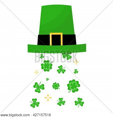 St. Patricks Green Hat With Four-leaves Clover. Leprechaun Hat. Vector Illustration Isolated On Whit