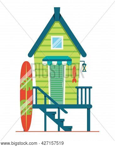Beach House. Hut With Surfboard On The Coast. Vector Flat Illustration Isolated On White Background.