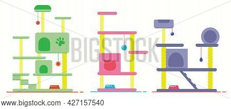 Cat Tree With Cat House. Cat Tower And Scratching Post. Pets Furniture. Set Of Flat Vector Illustrat