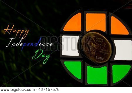 Illustration Of Happy Independence Day Wish Greeting Card With Tricolour Of Indian Flag