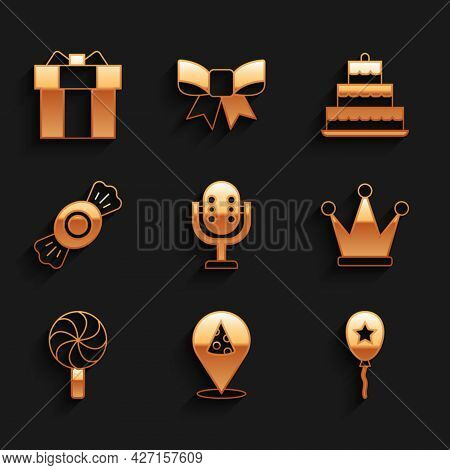 Set Microphone, Slice Of Pizza, Balloon With Ribbon, Crown, Lollipop, Candy, Cake Burning Candles An