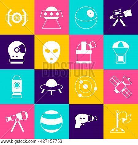 Set Moon With Flag, Satellite, Box Flying Parachute, Planet, Alien, Astronaut Helmet, Cosmic Ship An