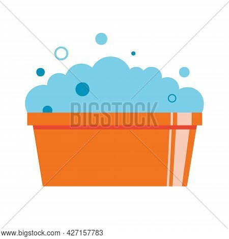 Plastic Basin With Soap Suds. Soap Foam With Bubbles. Washing Clothes By Hand. Flat Illustration Iso