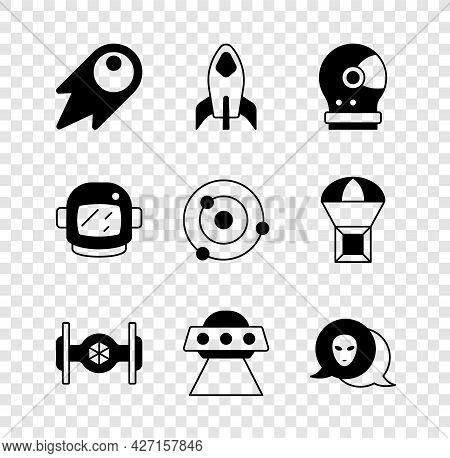 Set Comet Falling Down Fast, Rocket Ship, Astronaut Helmet, Cosmic, Ufo Flying Spaceship, Alien, And