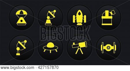 Set Satellite Dish, Astronomical Observatory, Ufo Flying Spaceship, Telescope, Rocket, Cosmic And Sp