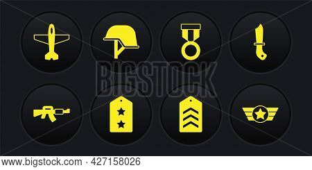 Set M16a1 Rifle, Military Knife, Rank, Chevron, Reward Medal, Helmet, Star American Military And Pla